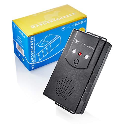 VON HAMELN mobiler Marderschreck Auto, Haus, Dachboden, Garten - Anschluss an Autobatterie, per USB oder Batteriebetrieb möglich - Marder Abwehr mit Blitzlicht