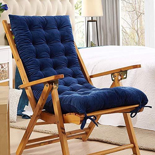 KTOL Sitzkissen Gartenstuhlauflage, Indoor Outdoor Stuhlauflagen Hochlehner-Auflage Sitzauflage Kristall Samt Terrasse Sessel Deckchair Liege Rocking Stuhl Pad-blau 120x48x10cm