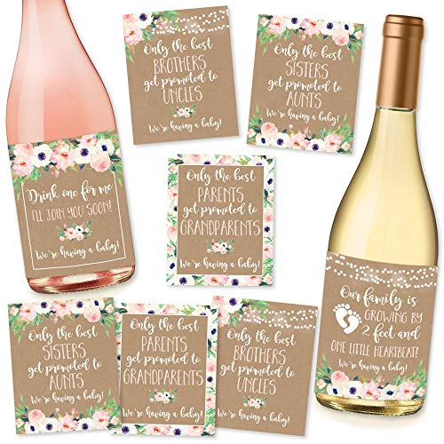 Product Image of the 8 Pregnancy Announcement Gifts, Announcing New Baby Reveal, Funny Wine Bottle...