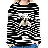 Camiseta de Rayas de Manga Larga para Mujer   Camiseta casual con estampado de perro en 3D, cuello redondo, manga larga, a rayas, para amantes de las mascotas, el mejor regalo para tu amante