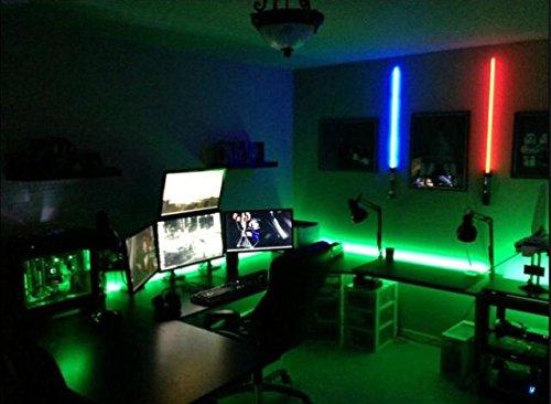 "KIDS Room - LED Light kit for ""YOUR"" Computer Desk / Study Desk / Gamer Desk -- Lighting KIT is Super Bright - -- Remote Control - GREEN - with STROBE Effects"