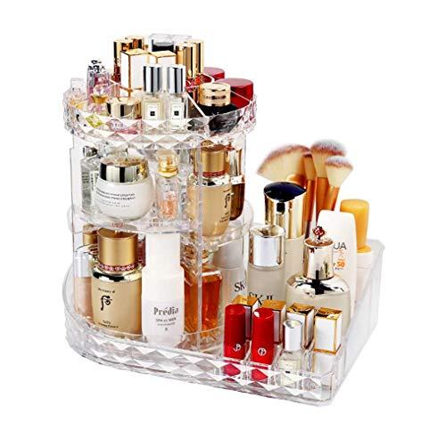 Organizador de maquillaje, Premium 360 grados giratorio acrílico ajustable joyería cosmética perfume pantalla caja de almacenamiento, perfecto para mesa de vestir, baño y dormitorio