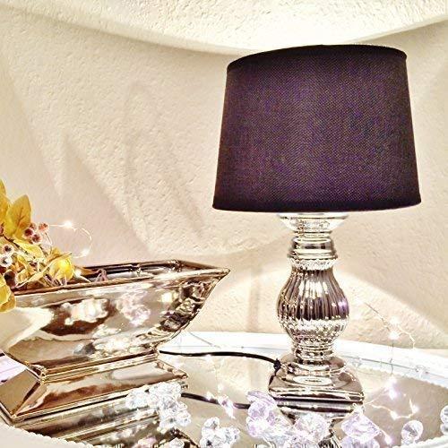 STEFFI 2er Set Nachtlampe Nachttischlampe Nachtleuchte Tischlampe Tischleuchte Keramik Lampe Silber Schwarz