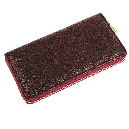 RIAH FASHION Rainbow Glitter Zip Around Wallet - Sparkly Confetti Single Zipper Clutch Purse with Card Slots (Confetti Glitter - Red)