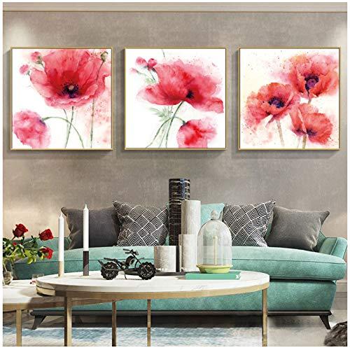 NIEMENGZHEN Druck auf Leinwand Moderne abstrakte Aquarellblumen Poster und Drucke Wandkunst Leinwand Malerei Rote Mohnbilder für Wohnzimmer Dekor 15,7