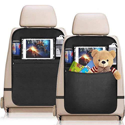 YZCX 2 Pezzi Protezione Sedili Auto Bambini Proteggi Sedile Organizzatore Sedile Posteriore Impermeabile con Supporto Trasparente per iPad Tablet per Car SUV Minivan Camion Seats (Nero)