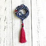 DADATU 108 Mala Cuentas Collar Mate Lapis Lazuli Nudo Collar Rojo Bordador Collares De La Joyería Joyería De La Joyería
