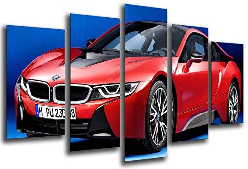 Cuadros Camara Poster Fotográfico Coche Deportivo, BMW i8, Rojo Tamaño total: 165 x 62 cm XXL, Multicolor