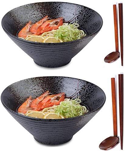 XIAOWANG 2X Ramen Bowls, Gran Ramen japonés de Fideos Sopa de Fideos de cerámica de cerámica Ramen Ramen de Fideos, 2 Sets / 6 Piezas de 60 onzas, con Cuchara a Juego y Palillos de Comedor