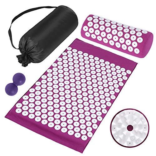 Ykall Akupressur-Set, Shiatsu Massagekissen mit Kissen und Faszienkugel, Multifunktionales Massagematten-Set, Helfen Sie, die Muskeln zu entlasten und die Durchblutung zu fördern, Tragetasche(purple)