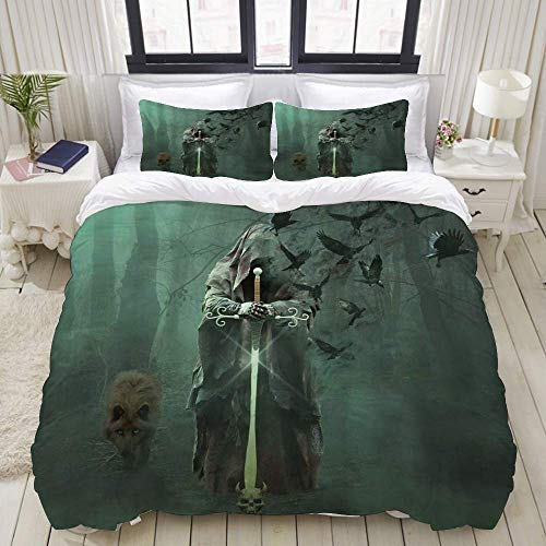 Funda nórdica, Horror Ghost Dark Forest Grim Reaper Death Wolf Crow Scary Halloween, Juego de Cama Ultra cómodo y liviano y Lujoso, Juegos de Microfibra