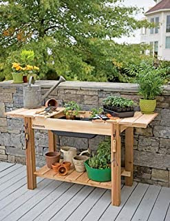 Gardener's Cedar Potting Bench With Sink