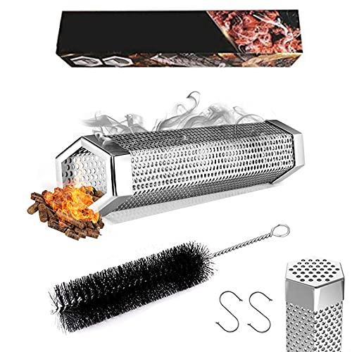 Pellet - Tubo per affumicatore in acciaio inox per barbecue a legna elettrica, per barbecue a gas, fumatori a freddo, generatore di fumo esagonale, con gancio e spazzola per la pulizia