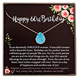 60th Birthday Gifts for Women Ideas, 14K Gold-filled Turquoise Necklace Jewelry Gift with Meaningful Message