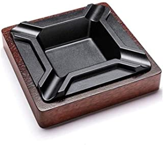 GAOTING Ashtray/home ashtray, metal ashtray merbau + - Optional Brown (Color : BrownB, Size : 19 * 18.3 * 4.3cm)