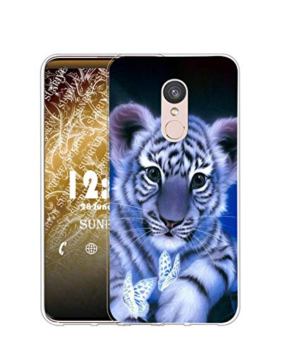 Sunrive Kompatibel mit LG Q7 Hülle Silikon, Transparent Handyhülle Schutzhülle Etui Hülle (Q Tiger)+Gratis Universal Eingabestift MEHRWEG