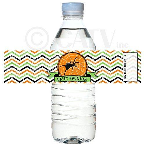 H103 Happy Haunting Party set van 50 waterdichte zelfklevende water fles label gelukkig halloween vinyl schil en stok school klasse partij vleermuizen heks pad pompoen