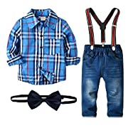 Nwada Little Boys Clothes Sets Bow Ties Shirts + Suspenders Pants Denim Jeans Toddler Boy Gentleman Outfits Suits Blue 1-2 Years