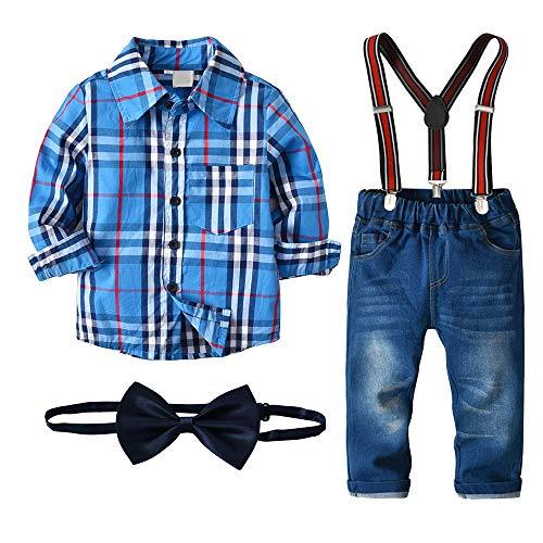 Nwada Kinder Anzug Set Junge Geburtstags Outfit Sommer Anzüge Kleinkind Blau Hemd und Hosenträger Hose 5/6 Jahre