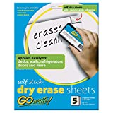 GoWrite! Dry Erase Sheets, Self-Adhesive, 8-1/2' x 11', White, 5 Sheets
