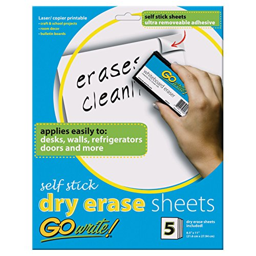 GoWrite! Dry Erase Sheets, Self-Adhesive, 8-1/2