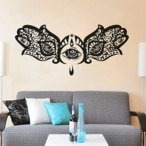 Mano ojo de pez pared arte Mural India Buda Yoga estudio decoración Fatima Ganesh mano vinilo decoración de pared calcomanía pegatina A3 57x26cm