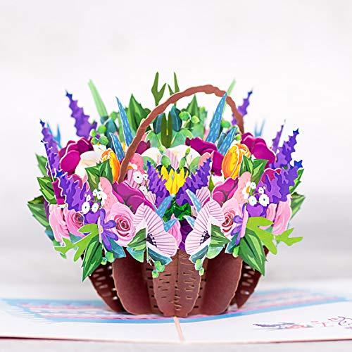 DKT Handmade Flower 3d card, Pop up flower cards, Greeting Cards, 3D Card, Card for Mom, Card for Wife, Anniversary Pop Up Cards (Basket Mix 3D Card)