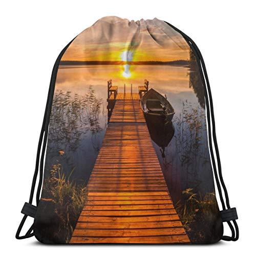 Puesta de Sol sobre el Muelle de Pesca Mochila con cordón Gimnasio...