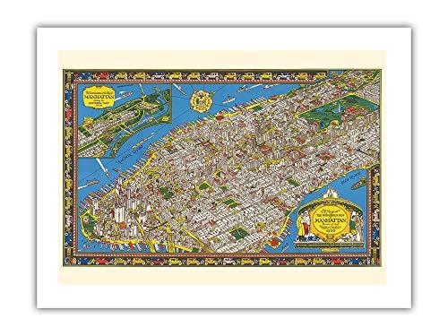 Pacifica Island Art - Isla Maravillosa Manhattan, Nueva York - Mapa de Charles Vernon Farrow c.1929 - Lámina giclée - 46 x 61 cm