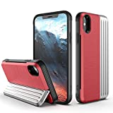 iPhone X Case, iPhone Xs Case, ZHIKE Shockproof Hard PC Case TPU Soft Cover with The Screen Protector Card Slot Holder with Stand Kickstand for iPhone X/XS (Red-Silver)
