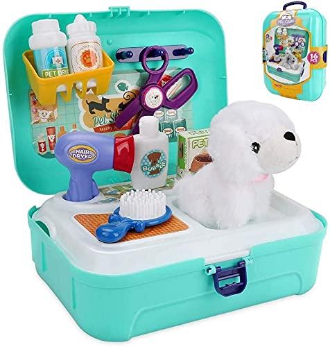 GLLP Conjunto de juegos de rol de cuidado de mascotas, juguetes de aseo Pey Care Play Set Puppy Dog Carrier Feeding Dog Backpack veterinario Médico Kit Educativo Juguete educativo con estuche de almac
