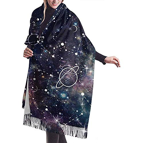 Night Time Planet en Star Constellation Galaxy Print Naadloos patroon In Repeat Shawl Wrap Warmer sjaal Cape Large Scarf