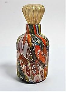 Botella de murrina Millefiori y oro zafiro de cristal de Murano Made in Italy