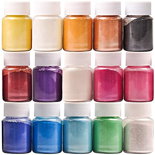 Dewel Pigmentos para Resina Epoxi 15 * 10g, Mica en Polvo, Colorante Resina Epoxi, Colorante Jabon, para Bombas de baño, Maquillaje,uñas.