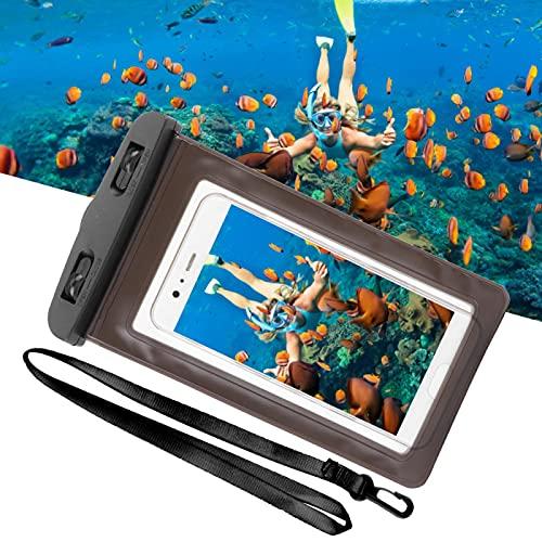 Kadimendium Estuche para teléfono Múltiples Colores Universal Super Size Drift Swimming Phone Bag para teléfonos Inteligentes con Cuerda Colgante(Black)