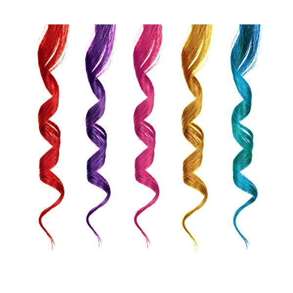 24 Pieces 24 Colors Multi-Colors Clip on in Hair Extensions Hair Pieces Colored Party Highlights DIY Hair Accessories Extensions 20 Inches Long Hair for Girls Women (24 Colors, Curly Wave) 7