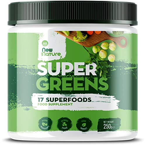 Super Greens by New Nature – 250g, 50 Servings – a Blend of 17 Natural Superfoods Suitable for Vegetarians & Vegans for Daily Intake - Zero Artificial Ingredients & No Added Sugar, Blended in The UK