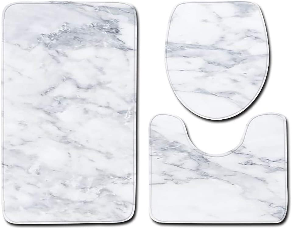Evangelia.YM Bathroom Carpet Mat Toilet Lid Cover 3pcs Set A Non-Slip Modern Crack Marble Print Bath Mat are Rugs Kitchen Doormats Decor