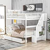 Full Over Full Bunk Bed with Two Drawers and Storage, Wood Bunk Bed with Stairs, White