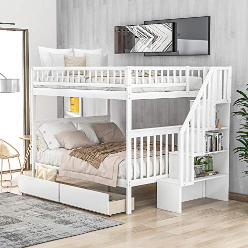 Full Over Full Bunk Bed with Two Storage Drawers and Storage Shelves for Kids Children, Space Saving Wood Bunk Bed Full with Stairs and Safety Rails, No Box Spring Needed, Easy Assembly (White)