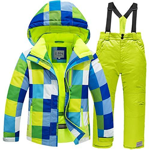 JELEUON Girls Boys Kids Winter Warm Outdoor Mountain Waterproof Windproof Snowboarding Skiing Jackets Snow Ski Bib Pants Overalls Set US 6