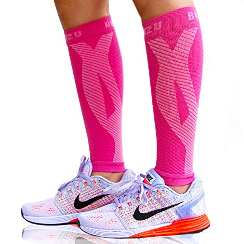 BLITZU Calf Compression Sleeves For Women & Men Leg Compression Socks for Runners, Shin Splint, Recovery from Injury & Pain Relief Great for Running, Maternity, Travel, Nurses Pink L-XL