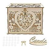 Ymiko Wedding Card Box with Lock and Card Sign,DIY Wood Gift Card Box Holder Money Box for Reception Wedding Anniversary Baby Shower Birthday Graduation Party Decor