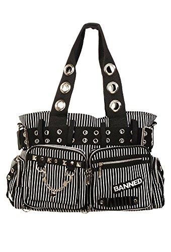 Banned Damen Handtasche mit Handschellen-Details, Rockabilly-Look, Leinwand, weiß - weiß - Größe: Large