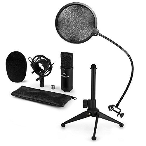 auna CM001B - Mikrofon-Set V2, 3-teilig, Kondensatormikrofon + Mikrofonstativ + POP-Schutz, Mikrofonspinne, Nierencharakteristik, Plug & Play, Windschutz, rutschfeste Gummifüße, schwarz