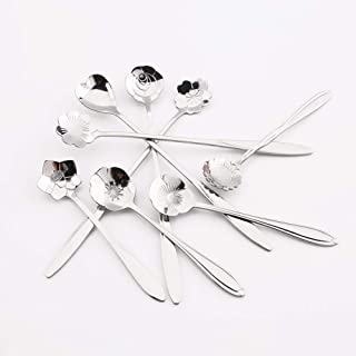 Stainless Steel Flower Spoon, Sugar spoon, Coffee, Stirring, Cake, Tea Spoon, Desser, Ice Cream Spoon(Set of 8,Two Different Lengths) (Silver)