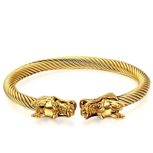 JewelryWe Schmuck Herren Damen Armband, Doppel Drachen Poliert Draht Armreif, Edelstahl, Gold
