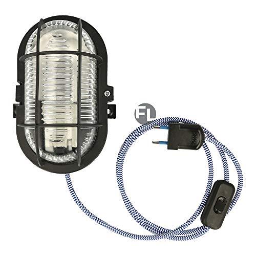 Bulkhead Kellerlampe Oval mit 3 Meter Textilkabel Schalter und Stecker für E27 Led Leuchtmittel im Retro Design inkl fitting Max 60 Watt IP44 (blau weiß, Gehäuse schwarz)