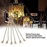 Goshyda E27 Base de lámpara Segura 1m Cable de Cuerda de cáñamo Cable eléctrico Ahorro de energía Bombilla Decorativa Colgante DIY con 6 Soportes para Hotel en casa