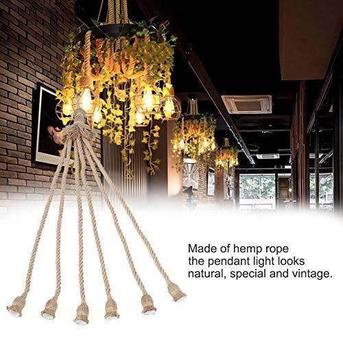 Goshyda E27 Base per Lampada sicura 1 m Cavo di Corda di Canapa Cavo Elettrico Lampadina Decorativa a Sospensione Fai-da-Te a Risparmio energetico con 6 Supporti per Hotel di casa